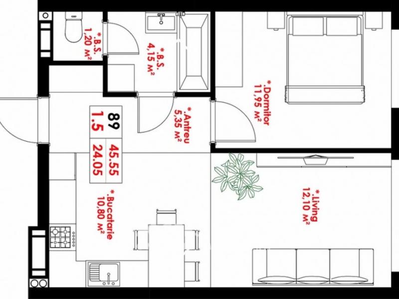 EXCLUSIV - Buiucani, str. O.Ghibu, 1 cameră + living 46 m2. Variantă albă!
