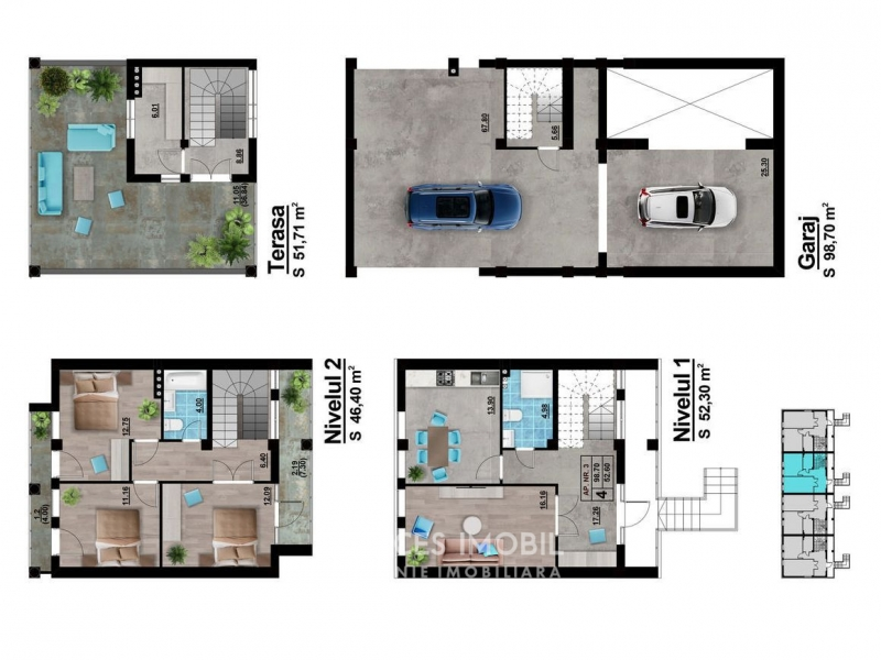 EXCLUSIV - TownHouse în 3 nivele! Durlești, 250m2. Variantă albă!
